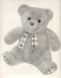 A teddy bear (This was drawn from life. The bear belonged to my sister).